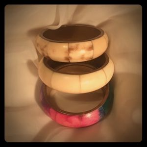 Jewelry - 3 Beautiful Bangles possible bone layer in brass